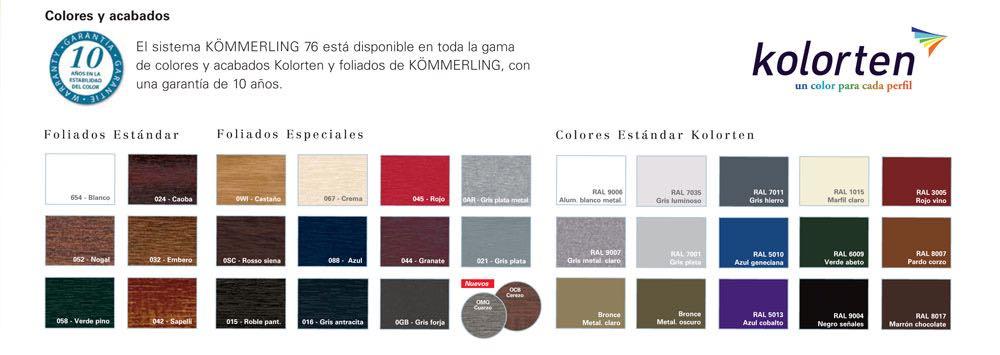 Colores Carpintería de PVC Kömmerling