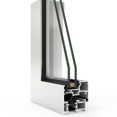 Ventana de aluminio en corte con Sistema COR 60 Hoja Oculta RPT
