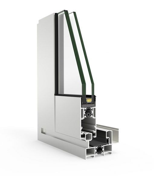 Imagen de un corte de ventana de Aluminio Cortizo con Sistema 4200 Corredera RPT
