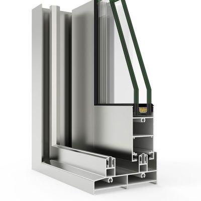 Corte de Ventana de Aluminio Cortizo sistema 6500 Corredera Plus / 6500 Corredera