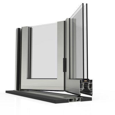 Corte de puerta de aluminio con Sistema para puertas Plegable Cortizo