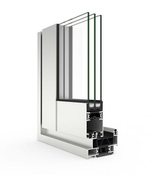 Corte de ventana de aluminio con Sistema Cortizo 4900 Corredera HI RPT