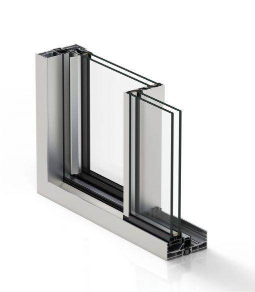 Corte de Ventana de Aluminio Cortizo con Sistema Cor Vision Corredera RPT