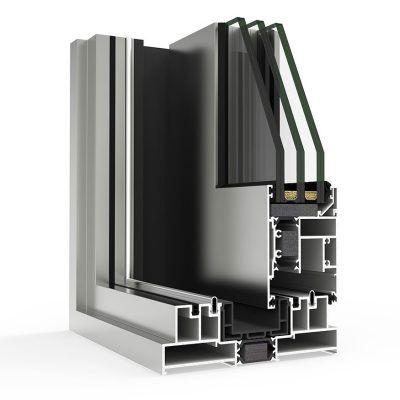 Ventana de Aluminio cortizo en corte con Sistema 4600 Corredera Elevable HI RPT Cortizo
