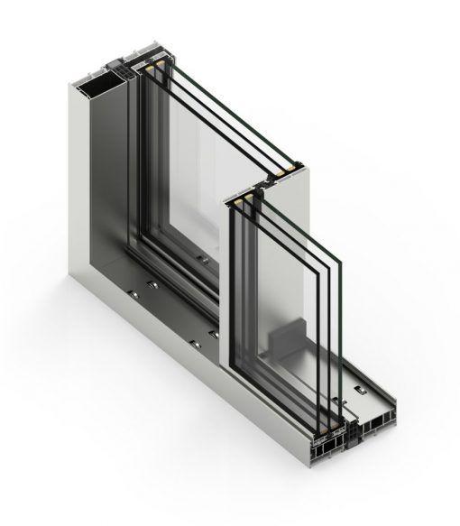 Corte de Ventana de Aluminio con Sistema Cor Vision Plus Corredera RPT