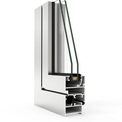 Ventana de aluminio con Sistema COR 2000 Cortizo en corte